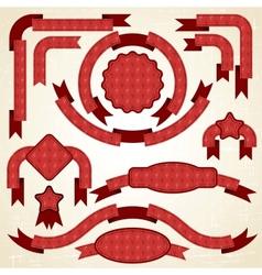 Retro Christmas Ribbons Labels vector image vector image