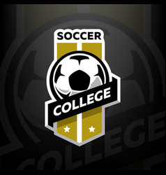 soccer college logo on a dark background vector image
