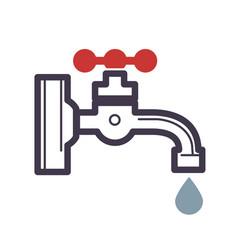 water dripping tap with water drop flat design vector image