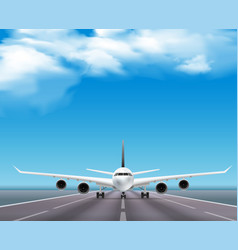 airplane on runway realistic poster vector image