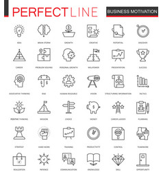 Business motivation thin line web icons set vector