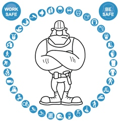 Cyan circular Health and Safety Icon collection vector image vector image