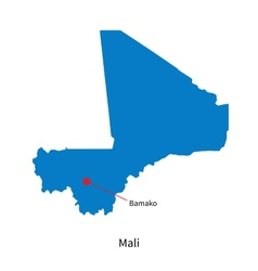 Detailed map of Mali and capital city Bamako vector image