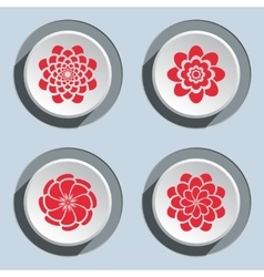 Flower icon set Dahlia aster daisy chamomile vector image