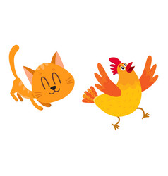 funny red cat kitten character chasing playing vector image vector image
