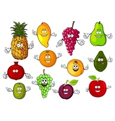 Happy cartoon fresh tropical fruits vector image vector image