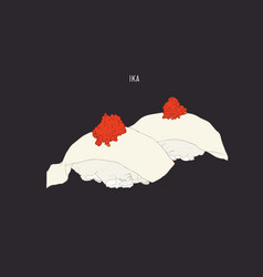 ika top with ebiko sushi sketch vector image vector image