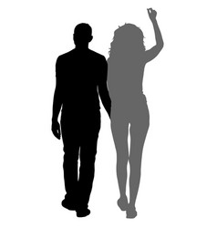 silhouette man and woman walking hand in hand vector image vector image