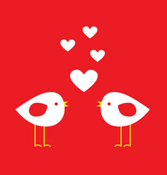 two cute birds with hearts vector image vector image