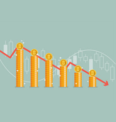 bitcoin with graph down vector image vector image
