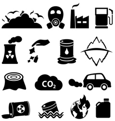 Pollution global warming and environment icons vector image vector image