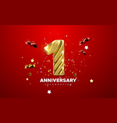 1st anniversary celebration realistic 3d sign vector