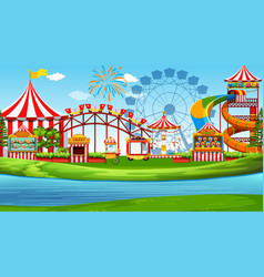 a fun amusement park scene vector image