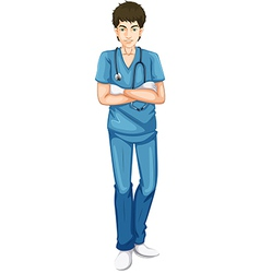 A young male doctor vector image
