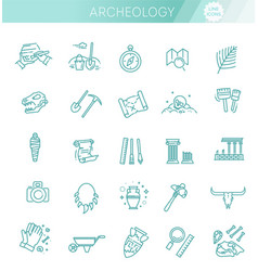archeology line icons set archeology collection vector image