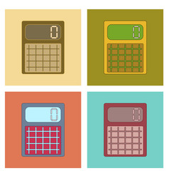Assembly flat icons electronic calculator vector