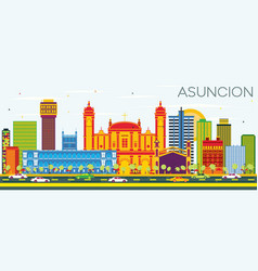 Asuncion paraguay city skyline with color vector