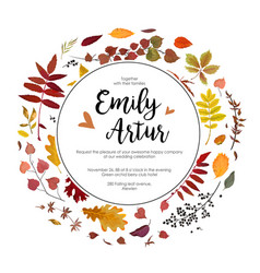 autumn fall wedding invite card with leaves vector image