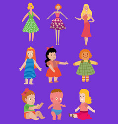 bacartoon dolls toy character girls vector image