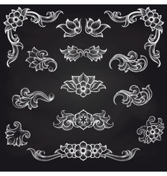 Baroque engraving leaf scroll design vector