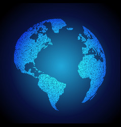 Blue earth background made with dots vector