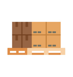 Box on pallet icon flat style vector