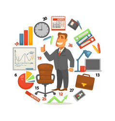 business equipment businessman and work items vector image