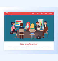 business meeting workers in office with partners vector image