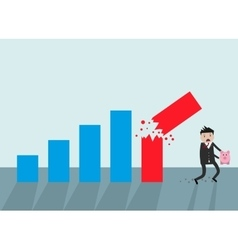 Businessman running away broken graph vector