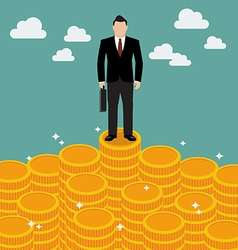 Businessman standing on money vector image