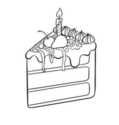 cake with candle coloring book vector image