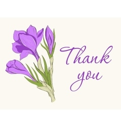 Card with hand drawn crocus spring flowers vector image