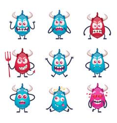 cartoon horned monsters set vector image