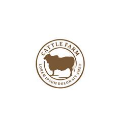 Cattle farm logo design - angus cow farm beef vector
