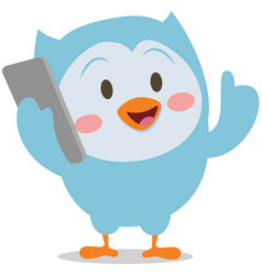 Character owl with phone mascot vector