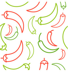 Chili seamless pattern outline vegetable set for vector
