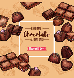 Chocolate candy sweets and dessert vector