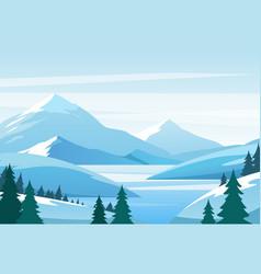 Christmas winter mountain landscape snowy rocks vector
