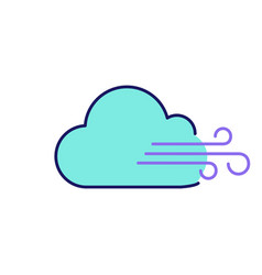 Cloudy windy weather color icon vector