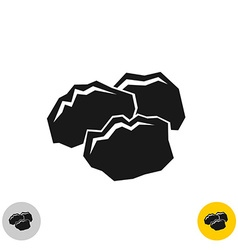 Coal black rocks icon Three pieces of a coil vector