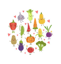 colorful funny vegetables cartoon characters vector image