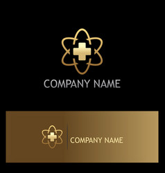 Cross medic hospital technology gold logo vector