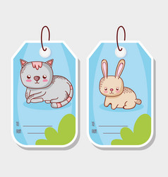 Cute animals label tags vector