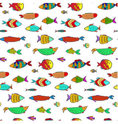 Cute colorful cartoon aquarium fishes pattern vector
