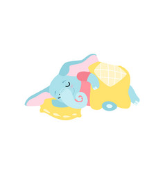 Cute elephant sleeping in its bed funny animal vector