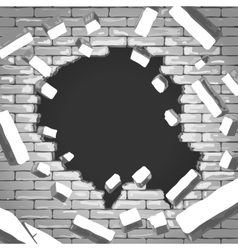 Destroyed brick wall vector image