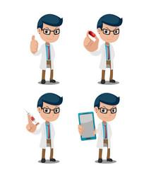 doctor cartoon big hand set vector image