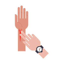 doctor measurement pulse finger on hand vein vector image