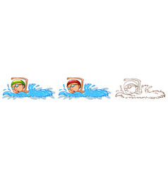 Doodle character for man swimming vector