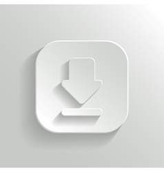 Download icon - white app button vector image